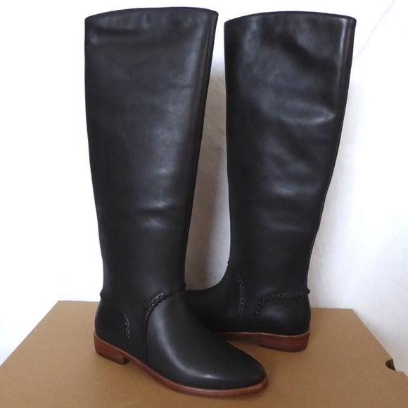 2a6e12d4ec4 NIB UGG Gracen Whipstitch Black Leather Tall Boots NWT